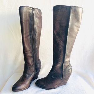 Frye Boho Wedge Tall Ridding Boots Cow Leather 8
